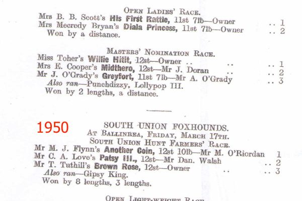 Image of South Union Foxhounds Point to Point runners and riders 1950 page 1