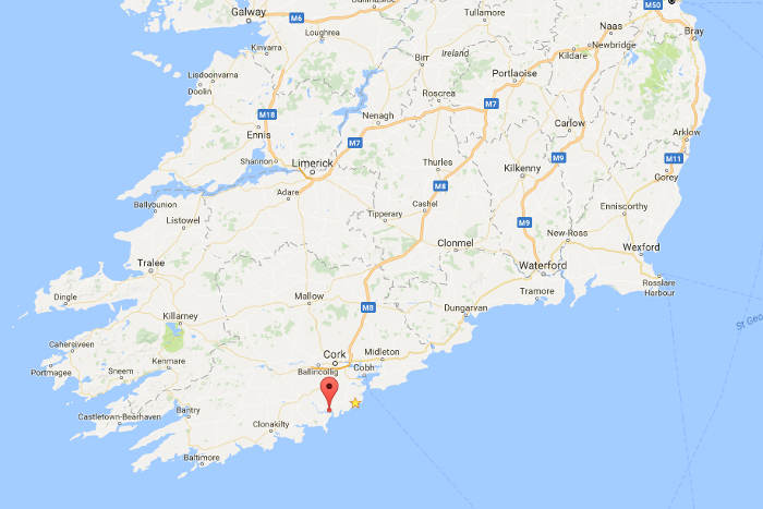 Map showing location of Kinsale County Cork within the Republic of Ireland
