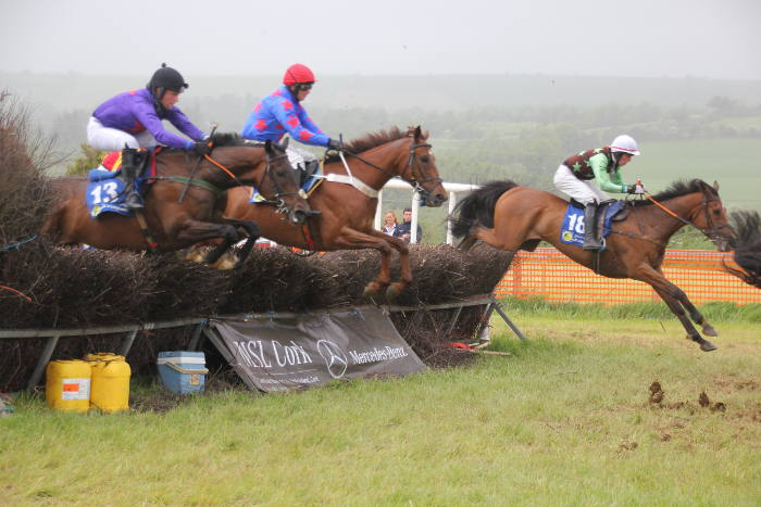 Photograph of horses jumping a fence sponsored by MSL Cork at Kinsale Point to Point