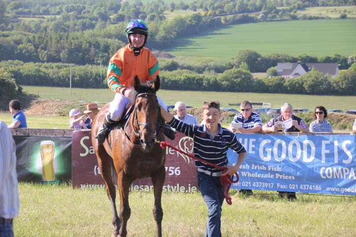 Photograph of a winning horse being led back to the parade ring at Kinsale Point to Point
