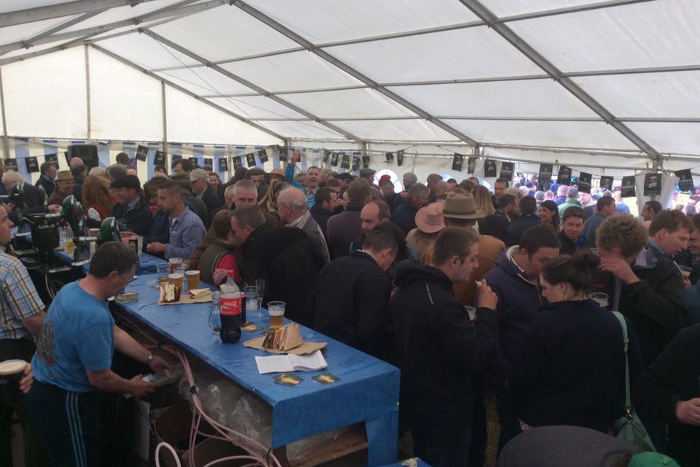 Bar tent full at end of Kinsale Point to Point