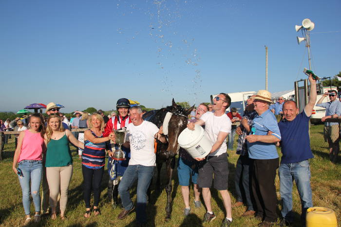 Winners celebrating at Kinsale Point to Point