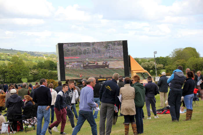 Photograph showing big screen on lorry at Kinsale Point to Point