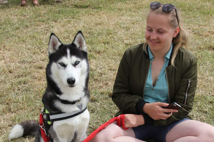 Photograph of girl at dog show sitting on ground with Husky dog